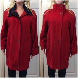 Peter James wool cashmere red navy heavy coat